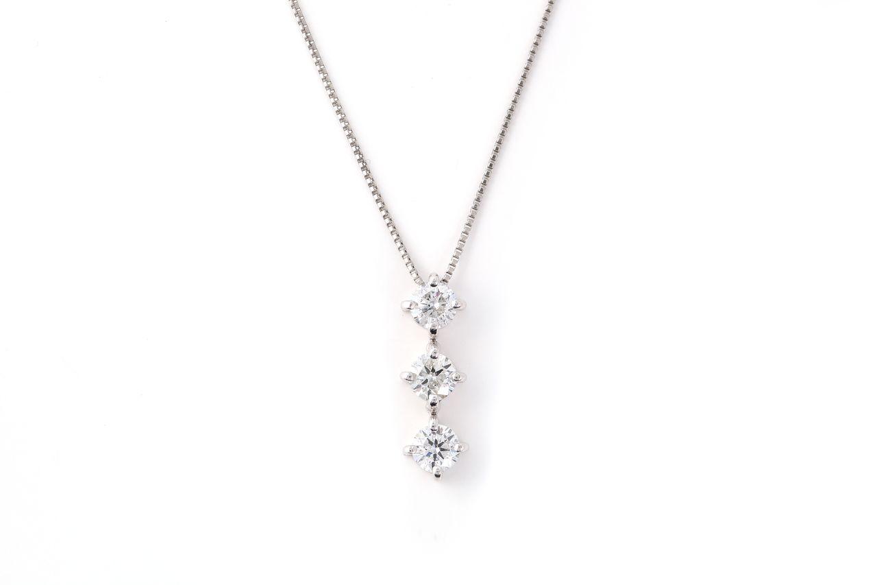 Pt900 ダイヤモンド スリーストーン ネックレス 0.3ct(NS2223401A)
